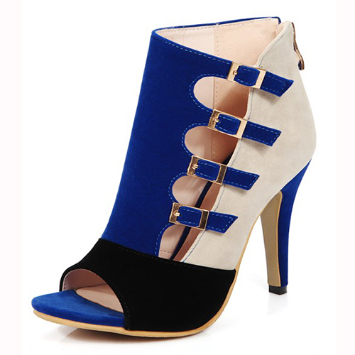 elegante aberto-Toed Buckle Color Block Patchwork Stiletto Super High Heel Azul PU Basic Pumps