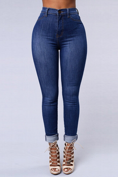 Lovely Trendy Mid Waist Button Fly Blue Denim Skinny Jeans