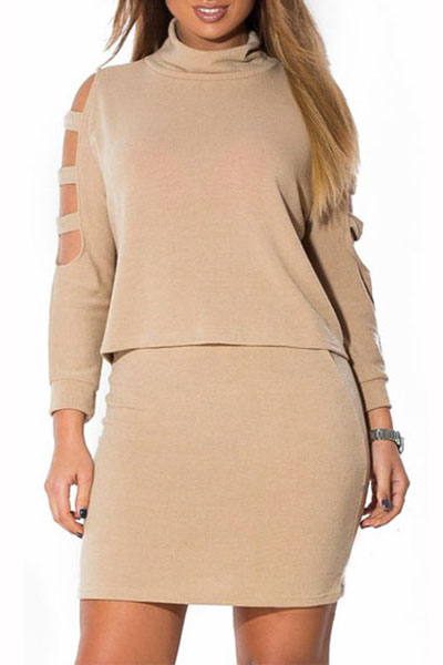 Stylish O Neck Long Sleeves Shoulder Hollow-out Khaki Cotton Blend Two-piece Skirt Set