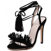 Stylish Lace-up Tassel Design Stiletto Super High