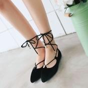 Stylish Pointed Closed Toe Bandage Low Heel Black