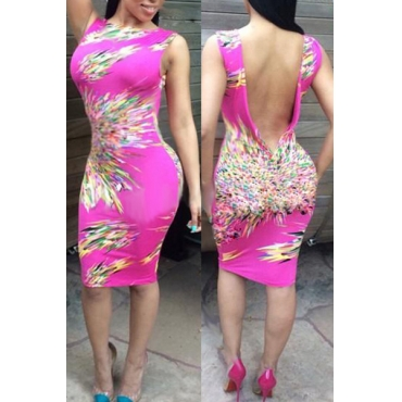 Sexy V Neck Print Sleeveless Rosy Polyester Sheath Knee Length Women Dress