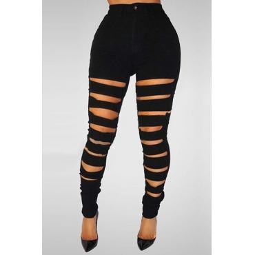 Stylish High Waist Broken Holes Black Denim Skinny Pants Jeans