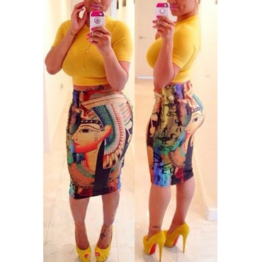 Trendy Round Neck Short Sleeves Print Yellow Qmilch Two-piece Skirt Set