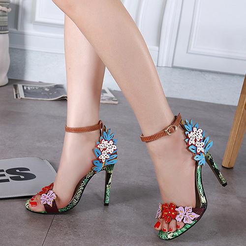 Stylish Open Toe Flower Decorative Stiletto Super High Heel PU Ankle Strap Sandals