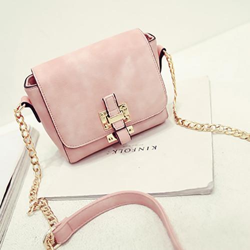 Trendy Belt Buckle Design Pink PU Crossbody Bag