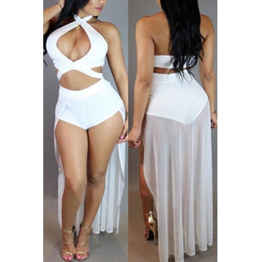 Sexy Halter Neck Hollow-out Asymmetrical White Polyester One-piece Jumpsuits