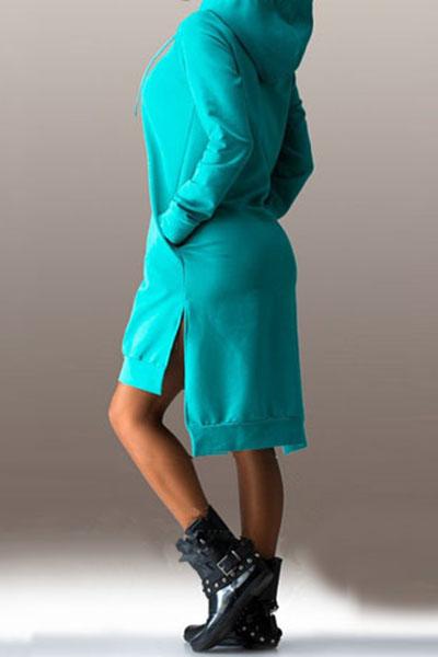 Casual Long Sleeves Side Split Asymmetrical Green Polyester Hooded Dress
