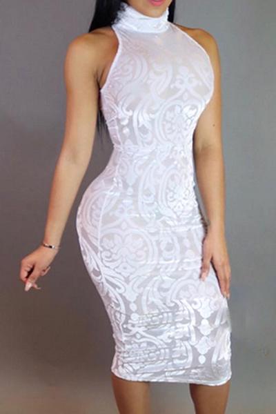 Vestito di lunghezza del ginocchio del fodero della miscela del cotone bianco della rappezzatura senza bretelle della maglia del collo del collo rotondo sexy