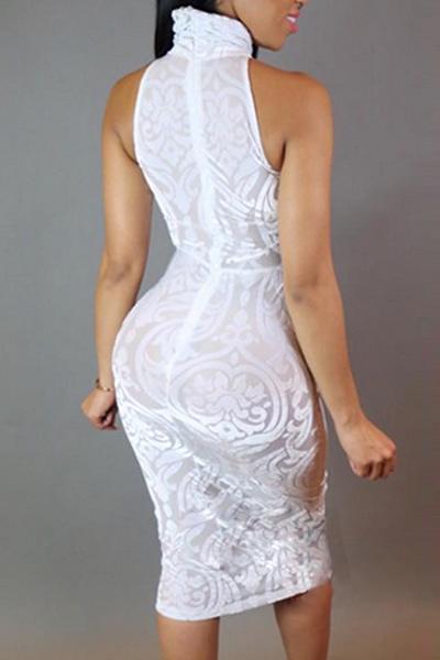 Vestido longitud de la rodilla Blend vaina redonda atractiva del tanque del cuello sin mangas de malla remiendo de algodón blanco