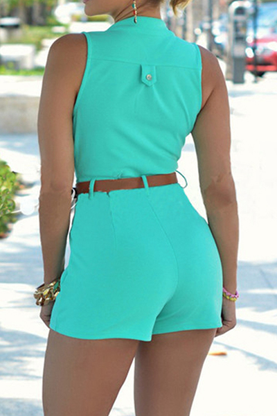 Trendy Round Neck Sleeveless Button Design Green Polyester One-piece Jumpsuits(With Belt)