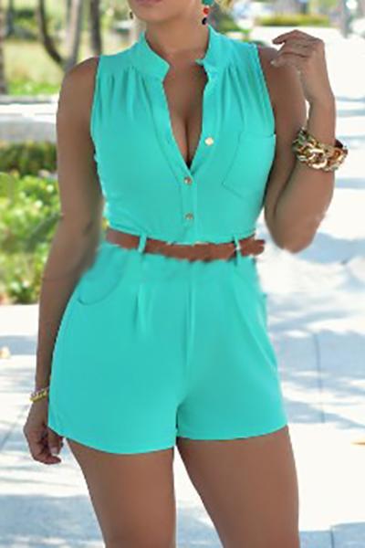 Tenda a maniche lunghe alla moda con bottone senza maniche in poliestere verde verde-piece Tute (con la cinghia)