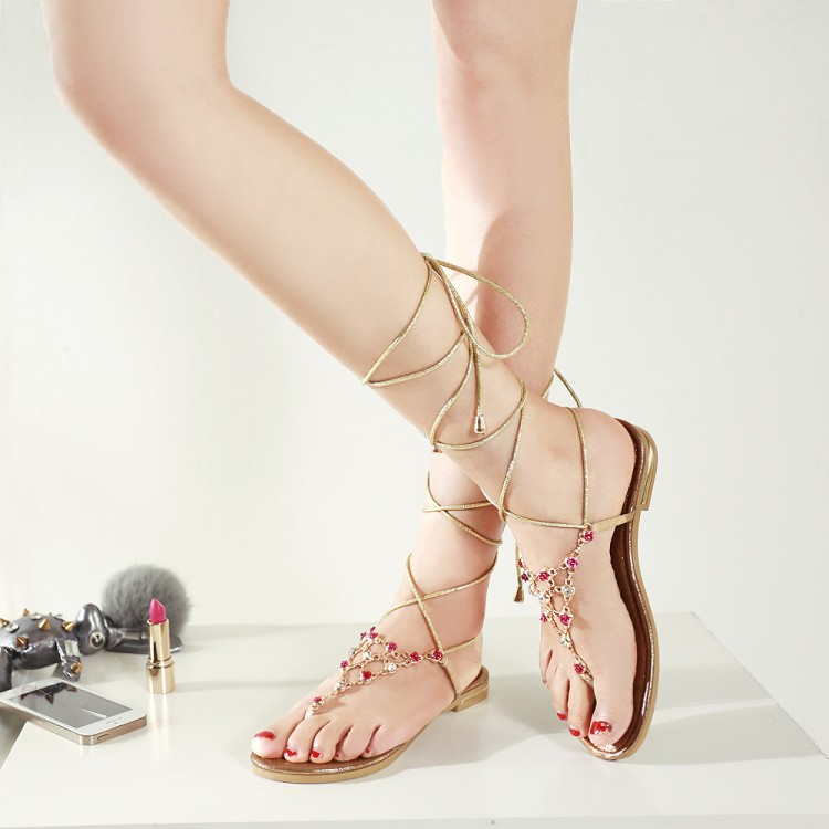 Stylish Open Toe T-Shaped Bandage Rhinestone Decorative Flat Low Heel Golden PU Gladiator Sandals