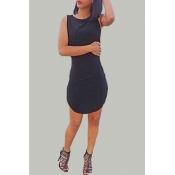Sexy O Neck Tank Sleeveless Black Polyester Sheath