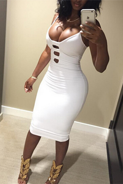 Vestito da donna delle donne lunghe al ginocchio del cotone bianco senza maniche in cotone spaghetti sexy V collo