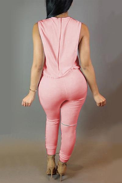 De moda cuello redondo cuello sin mangas Cremallera Design Drawstring Pink Polyester One-piece Monos