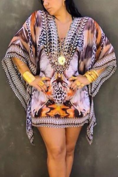 Trendy V Neck Half Sleeves Printed Asymmetrical Purple Chiffon Mini Dress