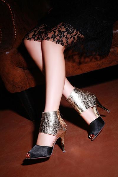Модные Круглый Peep Toe Цвет Блока Лоскутная Stiletto Супер Высокий Каблук Черный PU Насосы