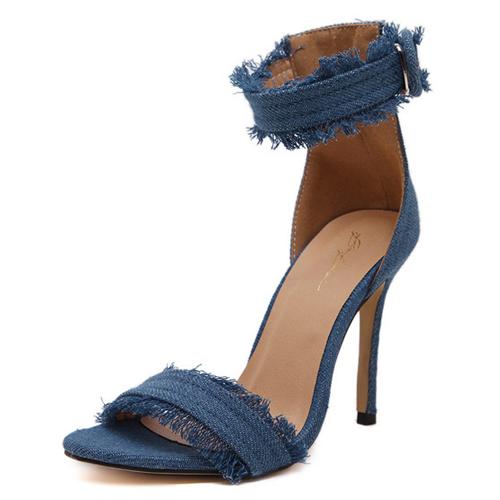 Trendy Open Toe Hollow-out Stiletto Super High Heel Light PU Sandals