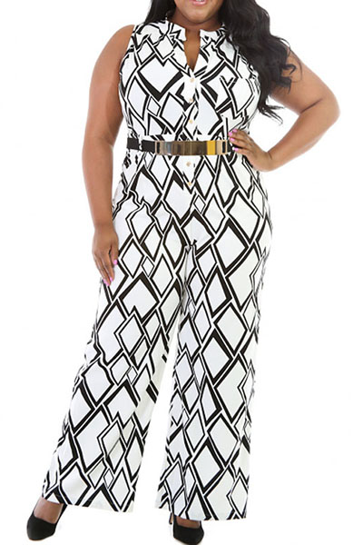 c06506aa37f Fashion Round Neck Sleeveless Blocks Printed White Polyester One-piece  Jumpsuits (With Belt)
