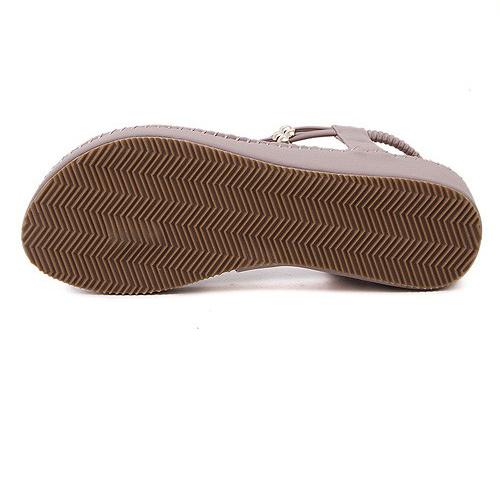 Stylish Open Toe Tassel Design Flat Low Heel Pink PU Sandals