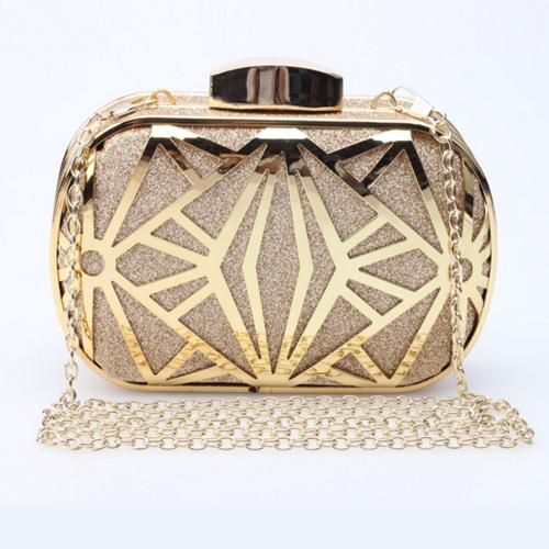 Fashion Metal Net Decorative Gold PU Hasp Messenger