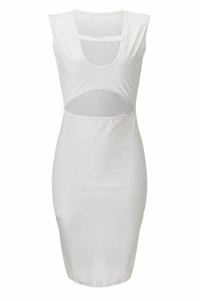 Sexy Scoop Neck Sleeveless Hollow-out White Nylon Sheath Knee Length Dress