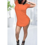 Cheap Fashion O Neck Short Sleeves Orange Cotton Blend Sheath Mini Dress