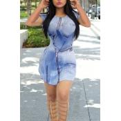 Leisure O Neck Short Sleeves Zipper Design Blue Po