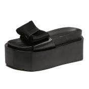 Trendy Open Toe Platform Bow-Tie Decorative Mid He