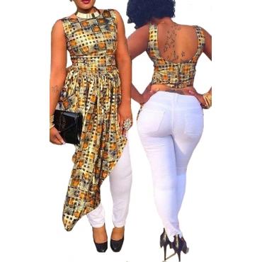 Stylish Round Neck Sleeveless Backless Asymmetrical Cotton Blend Shirt