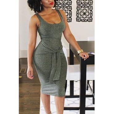 Vestido informal longitud de la rodilla en forma de U del cuello sin mangas del tirante de espagueti del vendaje de algodón gris Blend vaina