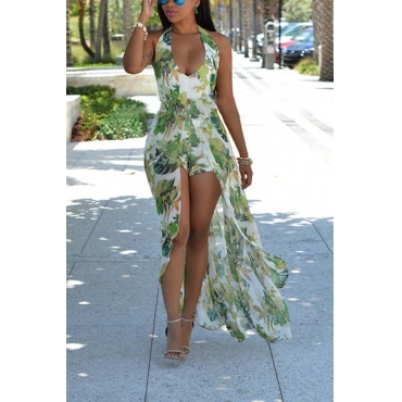 Sexy Halter V Neck Printed Backless Chiffon One-piece Skinny Jumpsuits