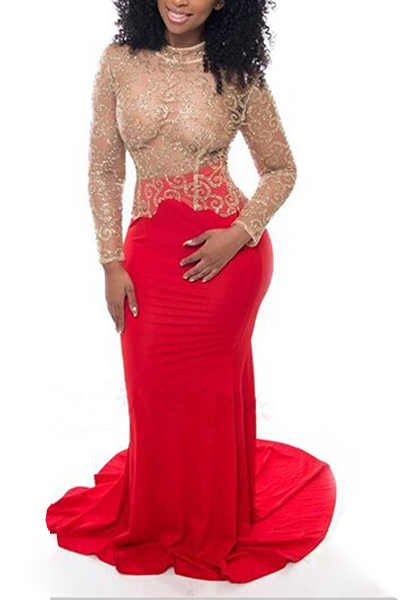 Sexy Round Neck Long Sleeves Lace Patchwork Hollow-out Red Lace Mermaid Floor length Dress