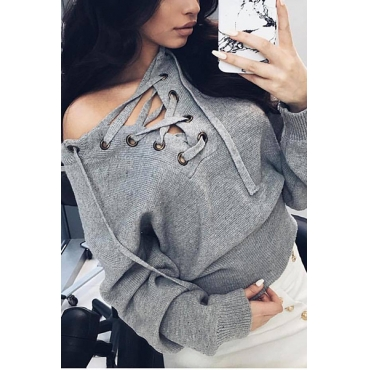 Casual  V Neck Long Sleeves Lace-up Grey Polyester Cardigans