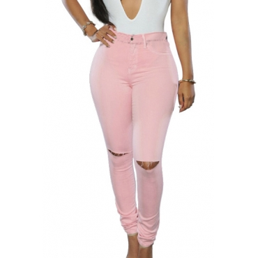 Fashion High Waist Broken Holes Pink Cotton Pants