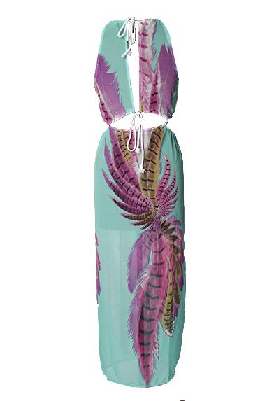 Reizvoller runder Ansatz Sleeveless gedrucktes asymetrisches blaues Chiffon- Knöchel-Längen-Kleid