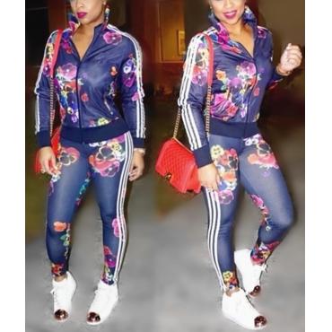 Trendy Mandarin Collar Long Sleeves Floral Print Twilled Satin Two-piece Pants Set