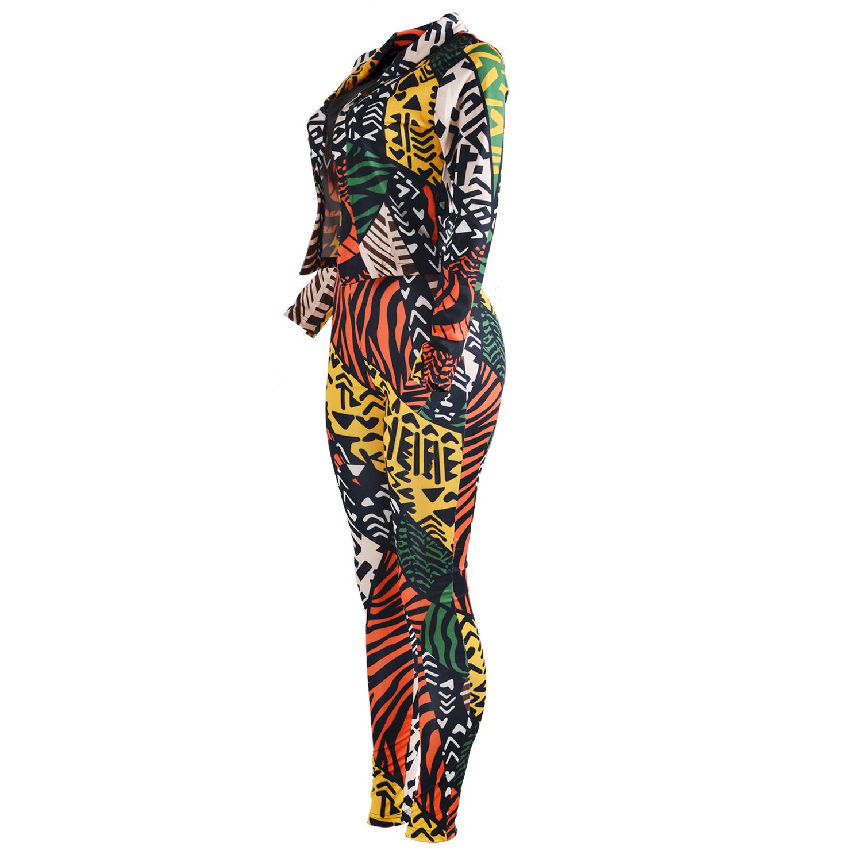 Multi Venetian Pants Print Turndown Collar Long Sleeve Casual Two Pieces