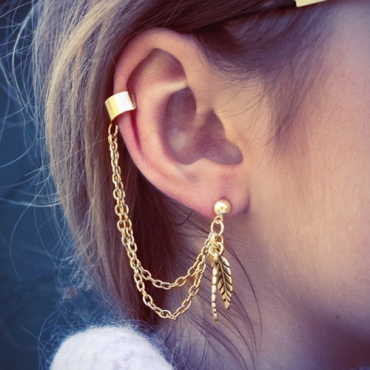Euramerican Leaves Tassel Decorative Gold Metal Earring(Only Sell A)