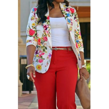 Stylish Turndown Collar Long Sleeves Floral Print Healthy Fabric  Blazer