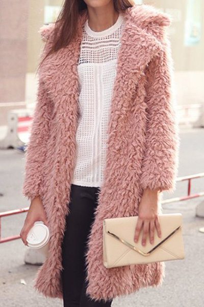 Trendy Turndown Collar Long Sleeves Pink Cotton Wool Coat