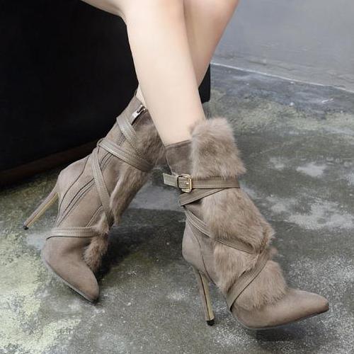 Модные острым носком мех дизайн стилет супер высокий каблук хаки замши середины икры сапоги