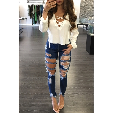 Stylish V Neck Long Sleeves Lace-up Hollow-out White Cotton Tops