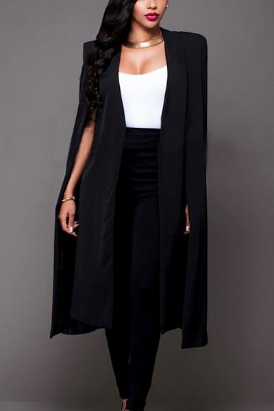Euramerican Cloak Design Negro Tejido sano Long Trench Coats