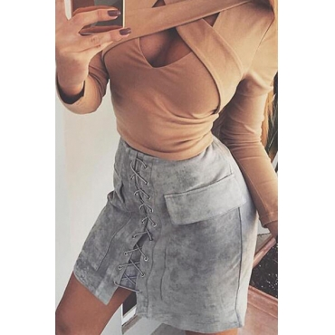 Trendy Mid Waist Lace-up Grey Polyester Mini Skirts