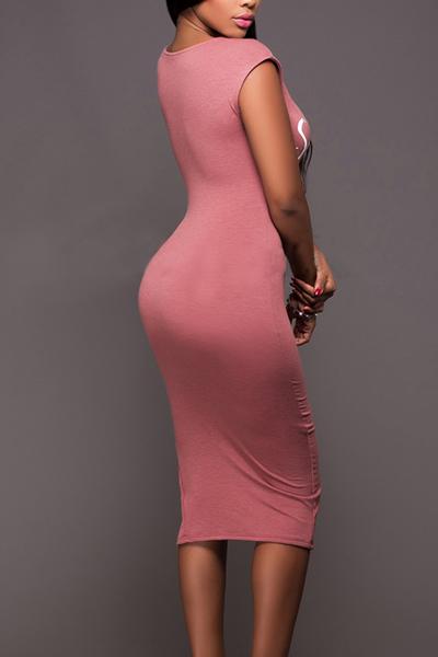 отдых круглый шею рукавов молния дизайн розовый хлопок оболочки платье длиной до колена