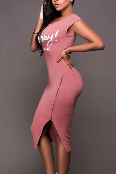 Leisure Round Neck Sleeveless Zipper Design Pink Cotton Sheath Joelho Comprimento Vestido