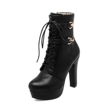 Stylish Round Toe Lace-up Chunky Super High Heel Black PU Short Boots