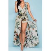 Charme Halter V Neck Backless imprimé floral Abricot en mousseline de soie plage longueur cheville robe